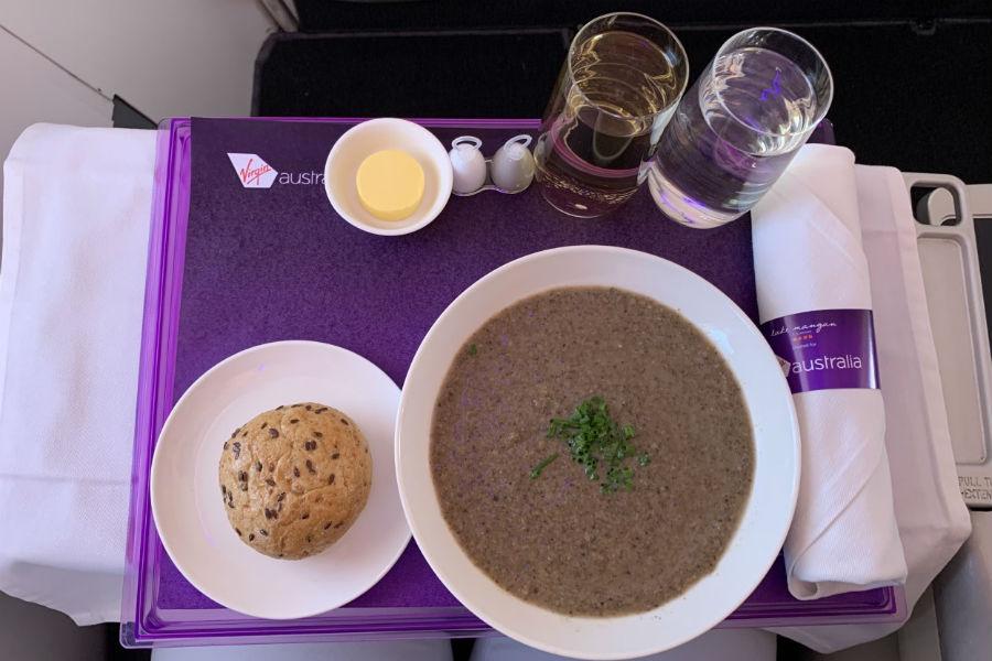 Virgin Australia Business Class to Bali - Starter: Mushroom & Cumin Soup with Chives